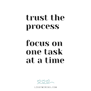 Image text: Trust the process. Focus on one task at a time.